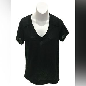 We The Free People Short Sleeve Sheer V-Neck Top